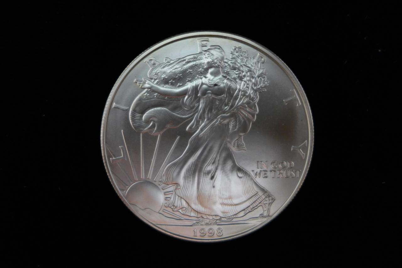 1998 Silver Eagle 1 Oz B U Coinandcard Com