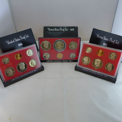 1979-1981 Proof Sets - 3 Sets with SBA Dollar