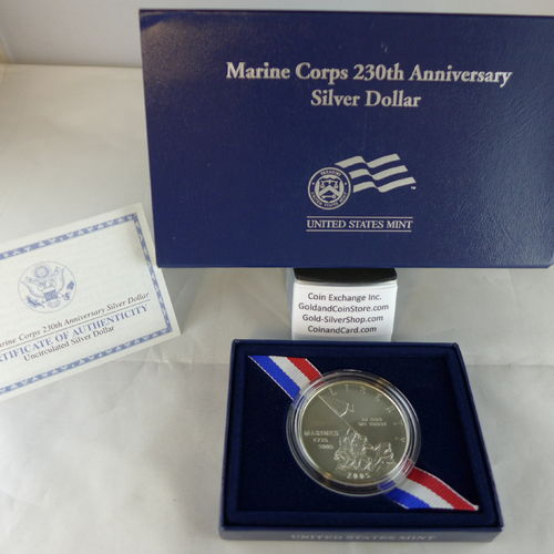 2005 Marine Corps 230th Anniversary Uncirculated Silver Dollar