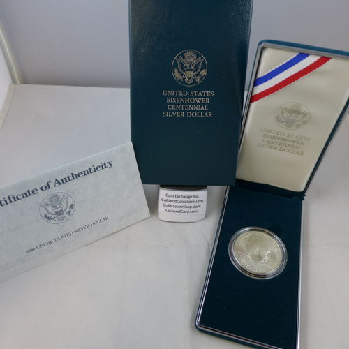 1990 Eisenhower Centennial Uncirculated Silver Dollar
