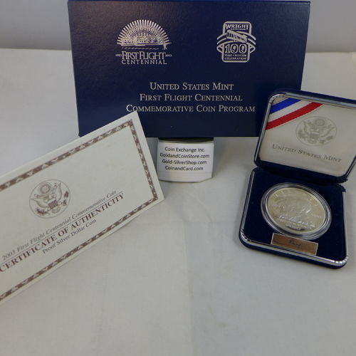 2003 First Flight Proof Silver Dollar