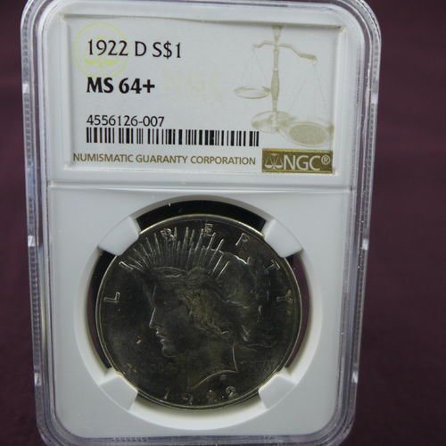 1922 D Peace Silver Dollar NGC MS64+