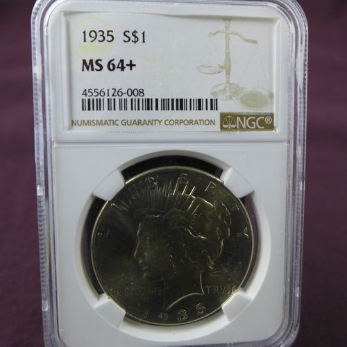 1935 Peace Silver Dollar NGC MS64+