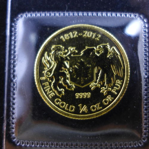 2012 Canada $10 1/4 Oz .9999 Fine Gold War of 1812 (in Mint Plastic)