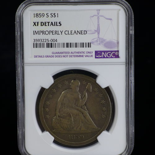 1859 Liberty Seated Dollar NGC XF Details