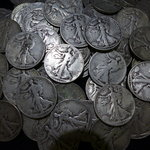 Lot of 100 - 90% Silver Walking Liberty Halves - AG-VG Mostly 40's some earlier.