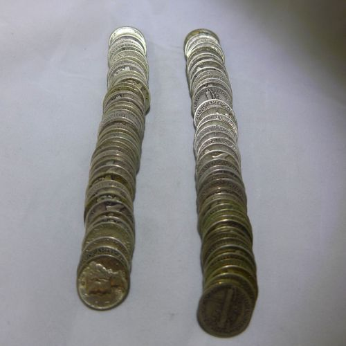 Mercury Dimes (2 Rolls, 100 Coins) Mixed Dates