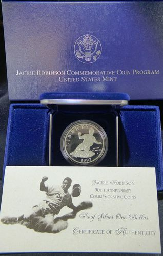 1997 Jackie Robinson Proof Commemorative Silver Dollar