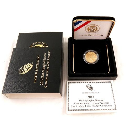 2012 Star-Spangled Banner Uncirculated Five-Dollar Gold Coin