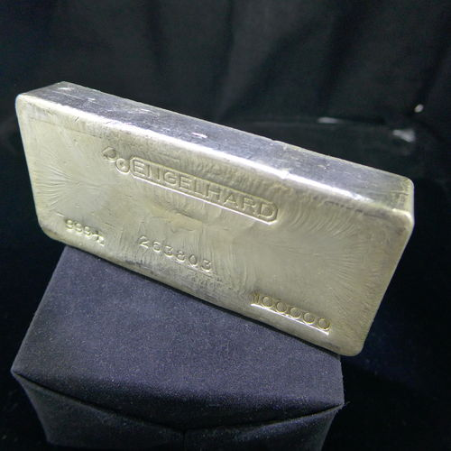 Old Poured 100 oz ENGELHARD Silver Bar 999+