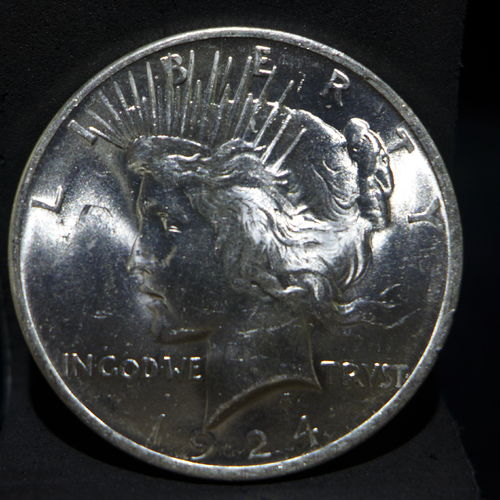 1924 Peace Silver Dollar BU MS60 or Better