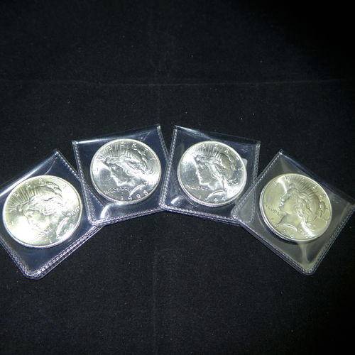 1922 - 1925 BU Peace Silver Dollars (4 Pcs) BU MS60 or Better