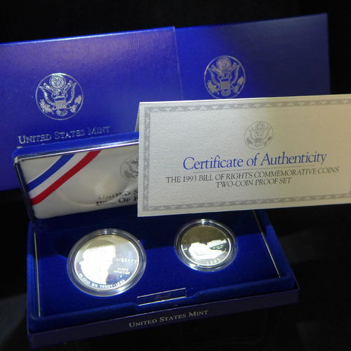 1993 Bill of Rights Commemorative Proof Silver Dollar and Half