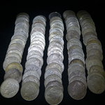 Lot of 100 - 90% Silver Peace Dollars VG+ - Mixed P.D. & S. w/duplicates