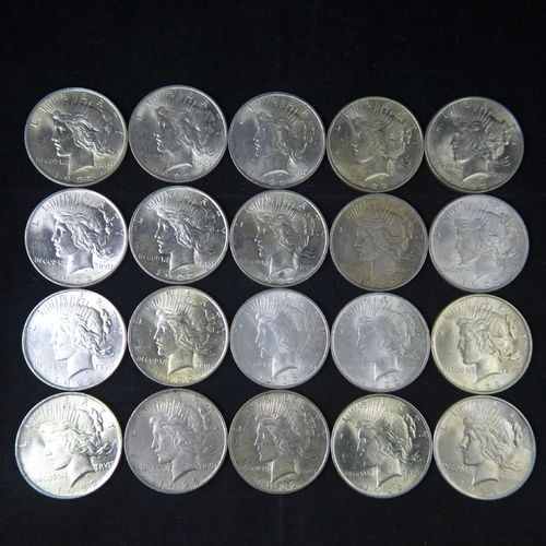 1922 Peace Silver Dollars AU+ Roll of 20 Coins
