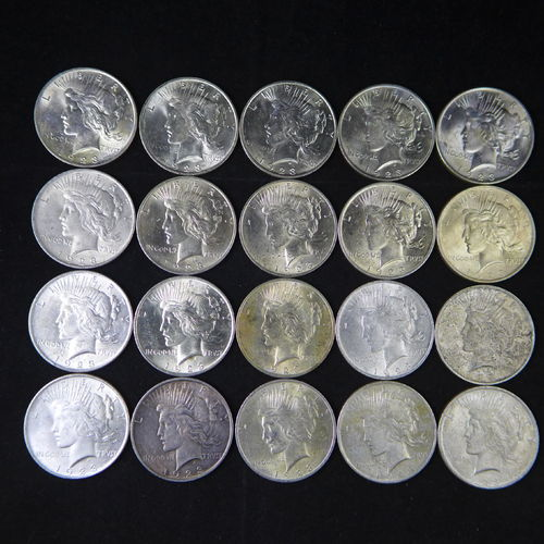 1923 Peace Silver Dollars  AU+ Roll of 20 Coins