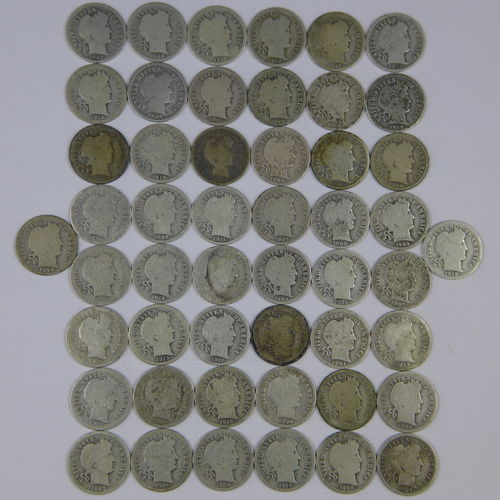 Barber Dimes - Roll of 50 - Avg Circulated - AG-G