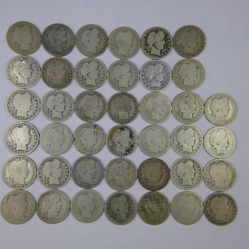 Barber Quarters Roll of 40 Ag-G Avg Circulated