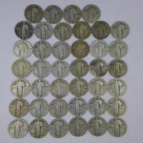 Lot of 40 Silver Standing Liberty Quarters (Roll) All Full Dates, some mint marks