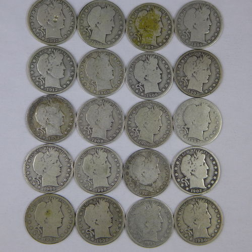 20 Different Barber Silver Half Dollars 90% $10 Face, Circulated Culls w/ at least one 1800's coin