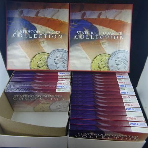 STATEHOOD QUARTER COLLECTION BOX SET 1999-2005 D, P, & GOLD EDITIONS 105 QUARTERS!