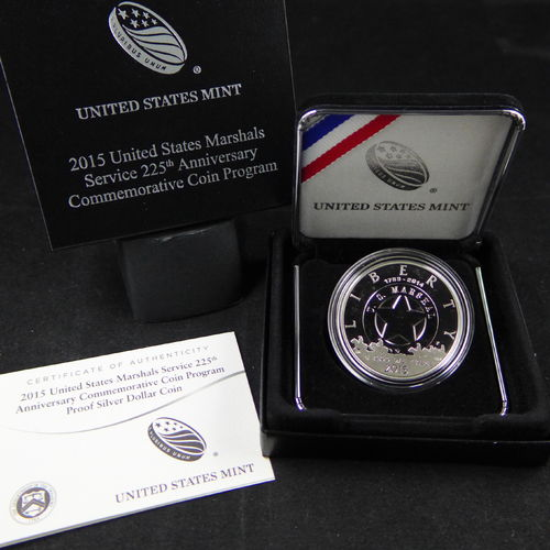 2015 P US Marshals Service 225th Anniversary Proof Silver Dollar