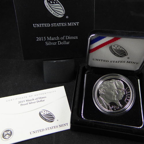 2015 W March of Dimes Proof Silver Dollar