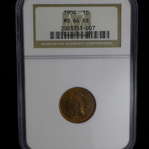 1906 1C Indian Head Cent NGC MS64 RB