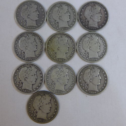 Lot of (10) Different Dates & MM Barber Half Dollars - VG