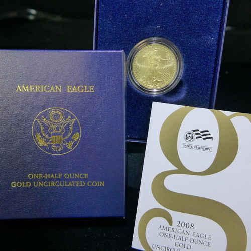 2008 W $25 American Gold Eagle 1/2 oz Fine Gold - Uncirculated Burnished