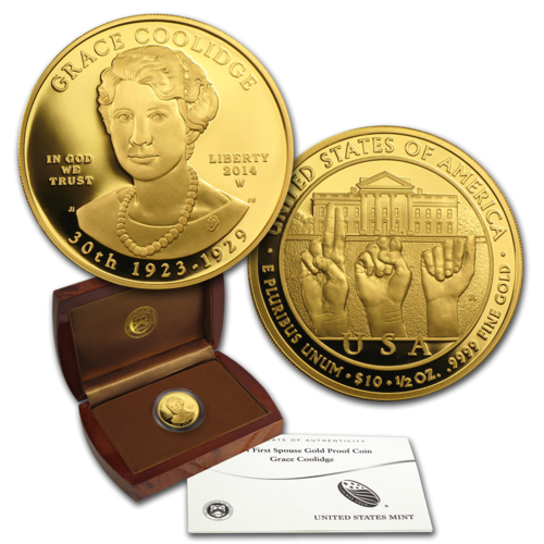 "2014 $10 First Spouse ""Grace Coolidge"" 1/2 oz Fine Gold Uncirculated Coin (with Box & COA)"