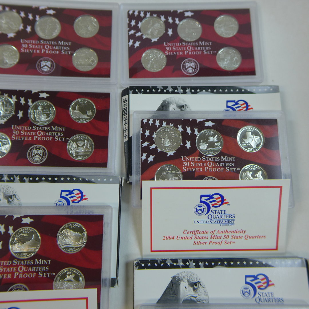 Mint State Quarters Silver Proof Sets 2004-2009 U.S