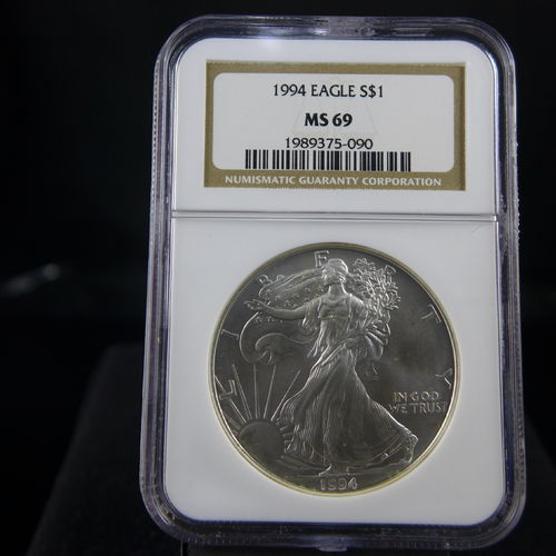 1994 Silver Eagle 1 oz B.U. NGC MS69