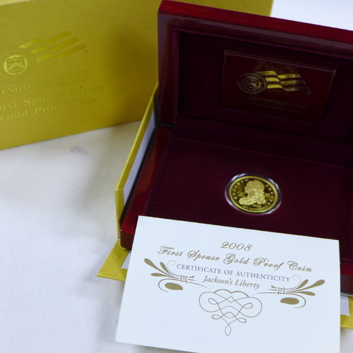 "2008 $10 First Spouse ""Jacksons Liberty"" 1/2 oz Fine Gold Proof Coin (with Box & COA)"