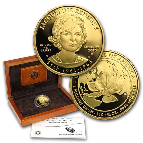 "2015 $10 First Spouse ""Jackie Kennedy"" 1/2 oz Fine Gold Proof Coin (with Box & COA)"