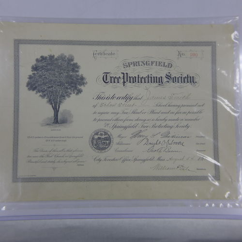 Springfield Tree Protecting Society Certificate - 1898