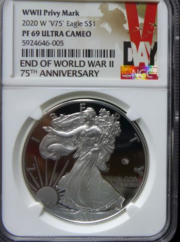 2020 W End of WWII V75 Privy Proof Silver Eagle - NGC PF69 Ultra Cameo