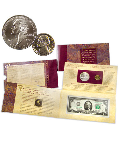 1993 Thomas Jefferson Coinage and Currency Set  Uncirculated