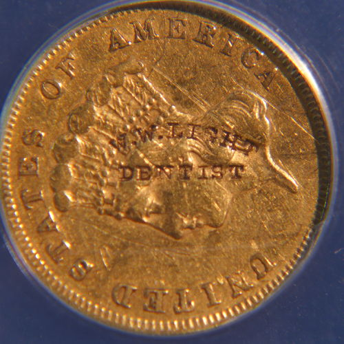 1856 S $3 MED S W.W. Light Dentist Counter Mark - VF-20 Details Scratched