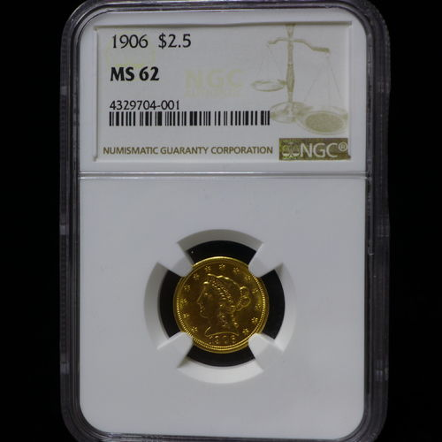 1906 $2 1/2 Gold Liberty Head NGC MS62