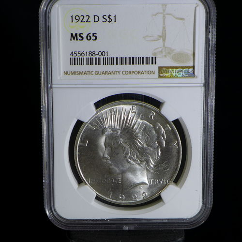 1922 D Peace Silver Dollar NGC MS65