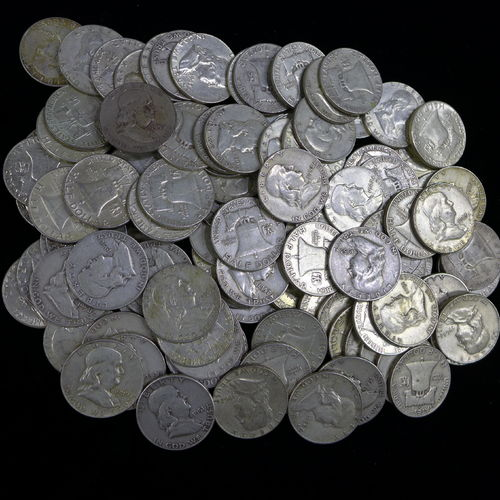 Lot of 100 - $50 FACE 90% Silver Franklin Halves - Average Circulated