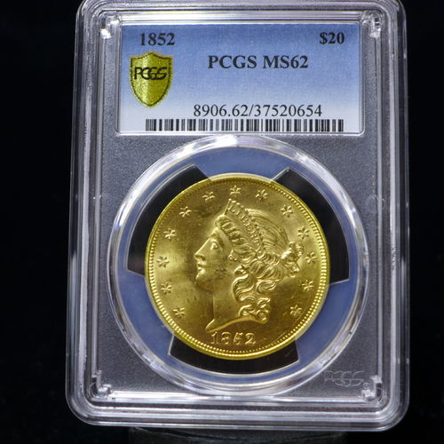 1852 $20 Gold Liberty Double Eagle Type 1 PCGS MS62