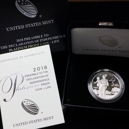 2018 Preamble to the Declaration of Independence 1oz Platinum Proof Coin - Life
