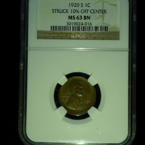 1920 S Wheat Cent ERROR 10% Off Center - NGC MS63 BN